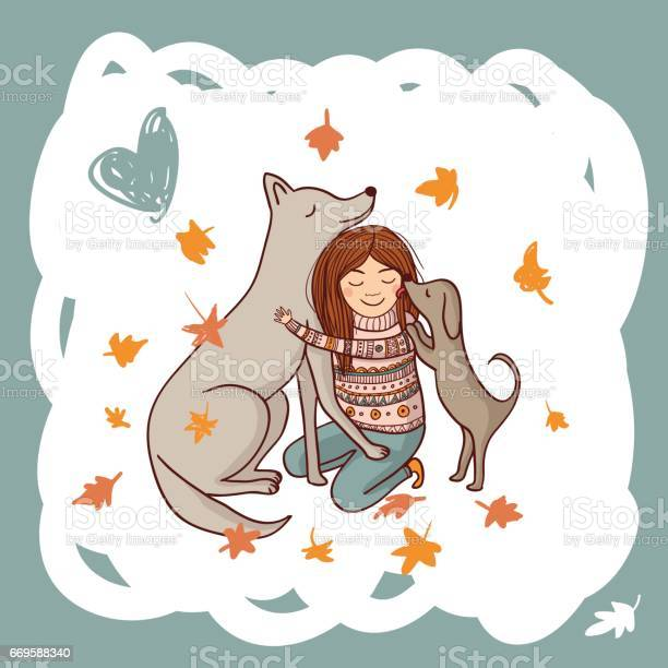 Girl with dogs in autumn illustration vector id669588340?b=1&k=6&m=669588340&s=612x612&h=k01tmxudtesegpjnidss3lep gi7xlysmvlkjilajng=