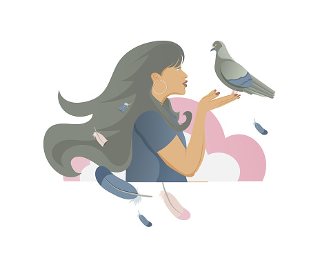 Girl with dove in the hands.
