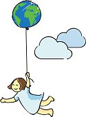A girl flying in the sky with an earth like balloon.