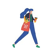 Girl with eco bag flat vector character. Woman walking with disposable coffee cup isolated design element. Person with purchases in textile handbag hand drawn illustration. Grocery store cartoon buyer