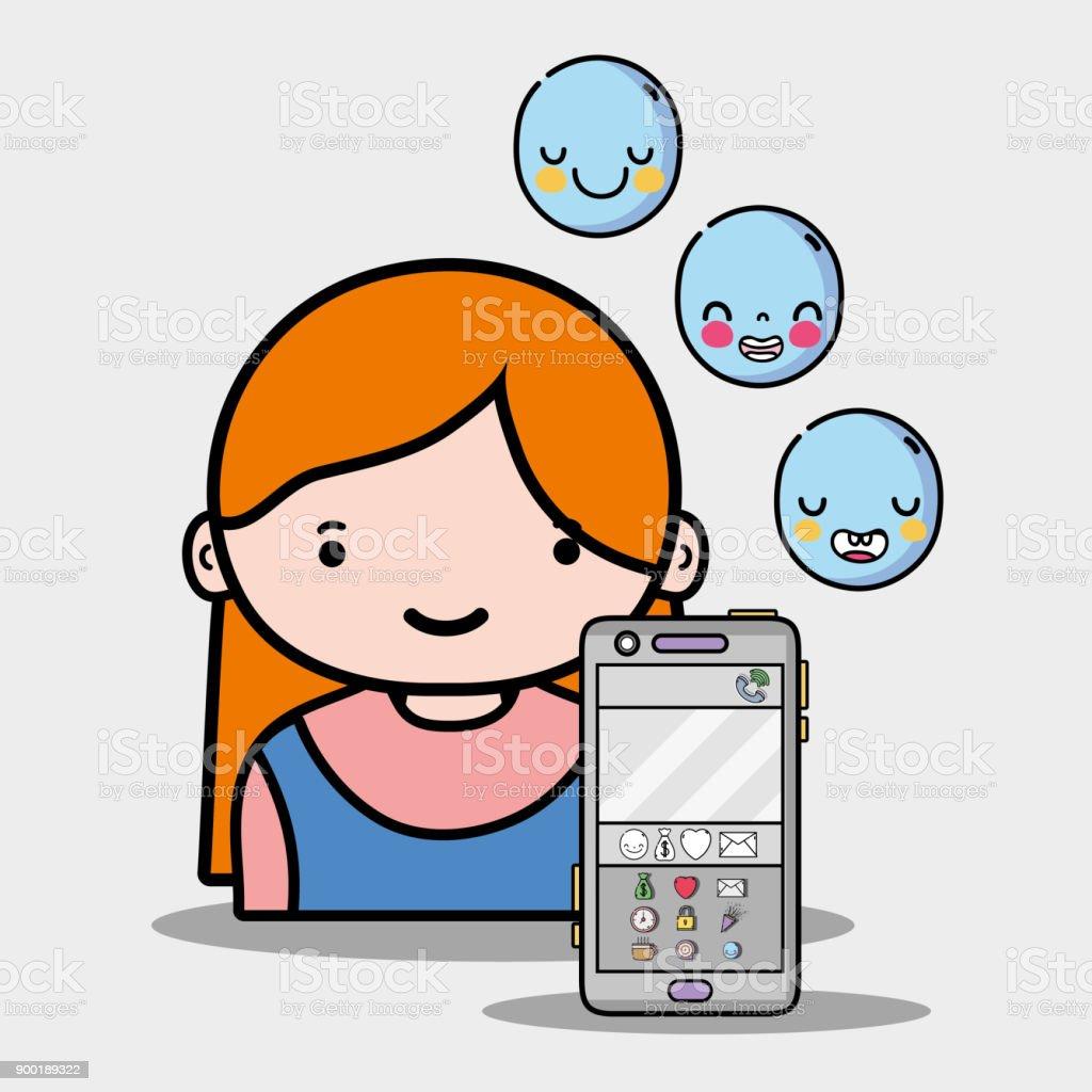 Ilustración De Chica Con Iconos Emoji De Whatsapp La Aplicación Y