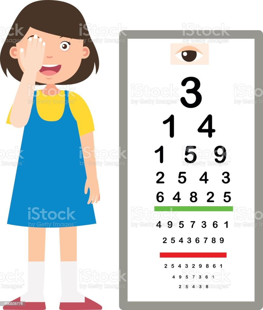 Girl with eye chart test diagnostic illustration stock vector art girl with eye chart test diagnostic illustration royalty free girl with eye chart test diagnostic nvjuhfo Gallery
