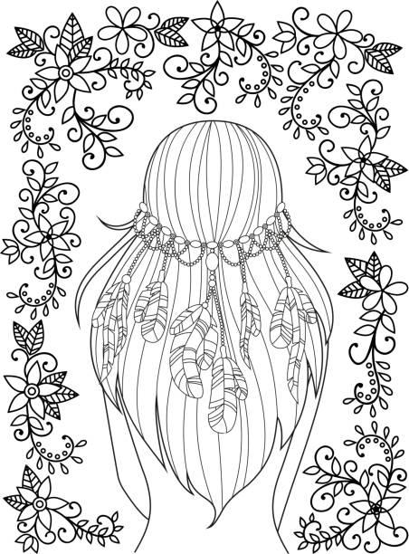 mädchen mit federn in ihr haar und blumenmuster - langhaarspitzen stock-grafiken, -clipart, -cartoons und -symbole