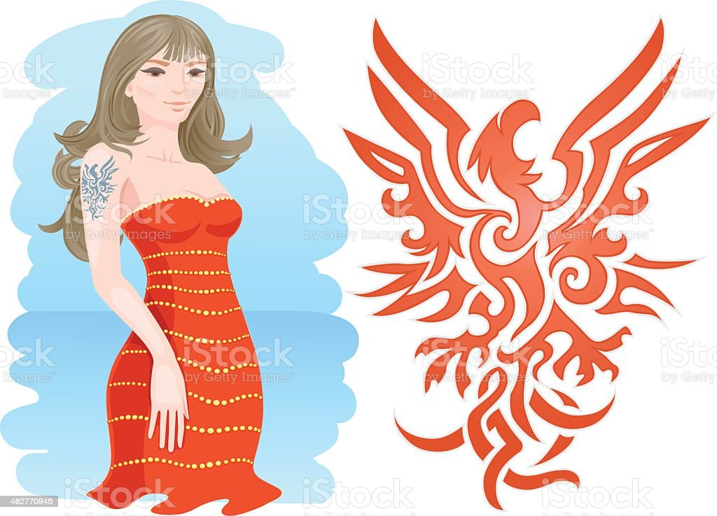 Girl with Fire Eagle Tattoo vector art illustration