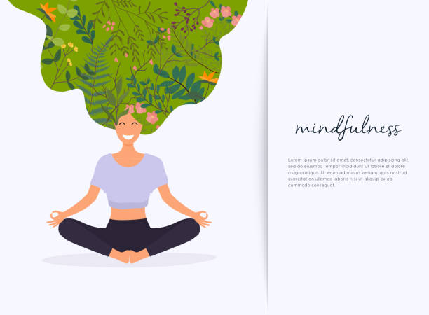 girl with flower hair in gyan mudra yoga lotus pose exercise. meditation health benefits for body, mind and emotions. - mindfulness stock illustrations