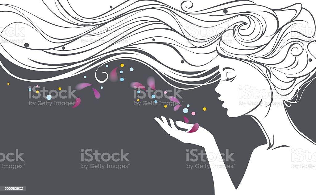 Girl with flower petals vector art illustration