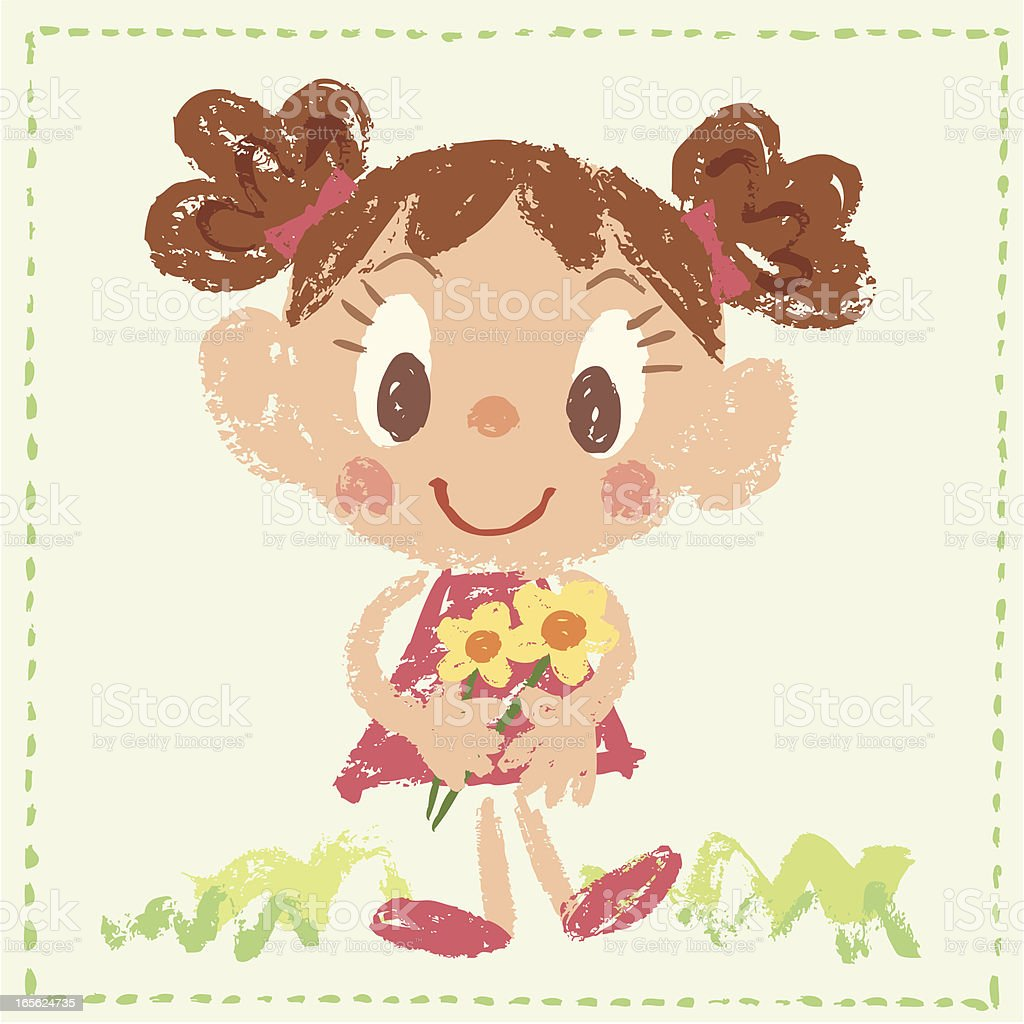 Girl with flower royalty-free girl with flower stock vector art & more images of cartoon