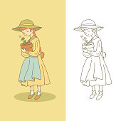 Illustration of girl with flower