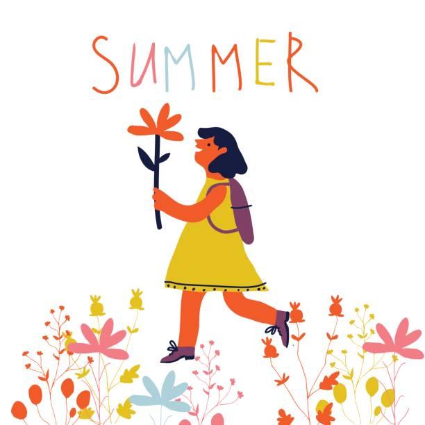 Mädchen mit Blumen – Vektorgrafik