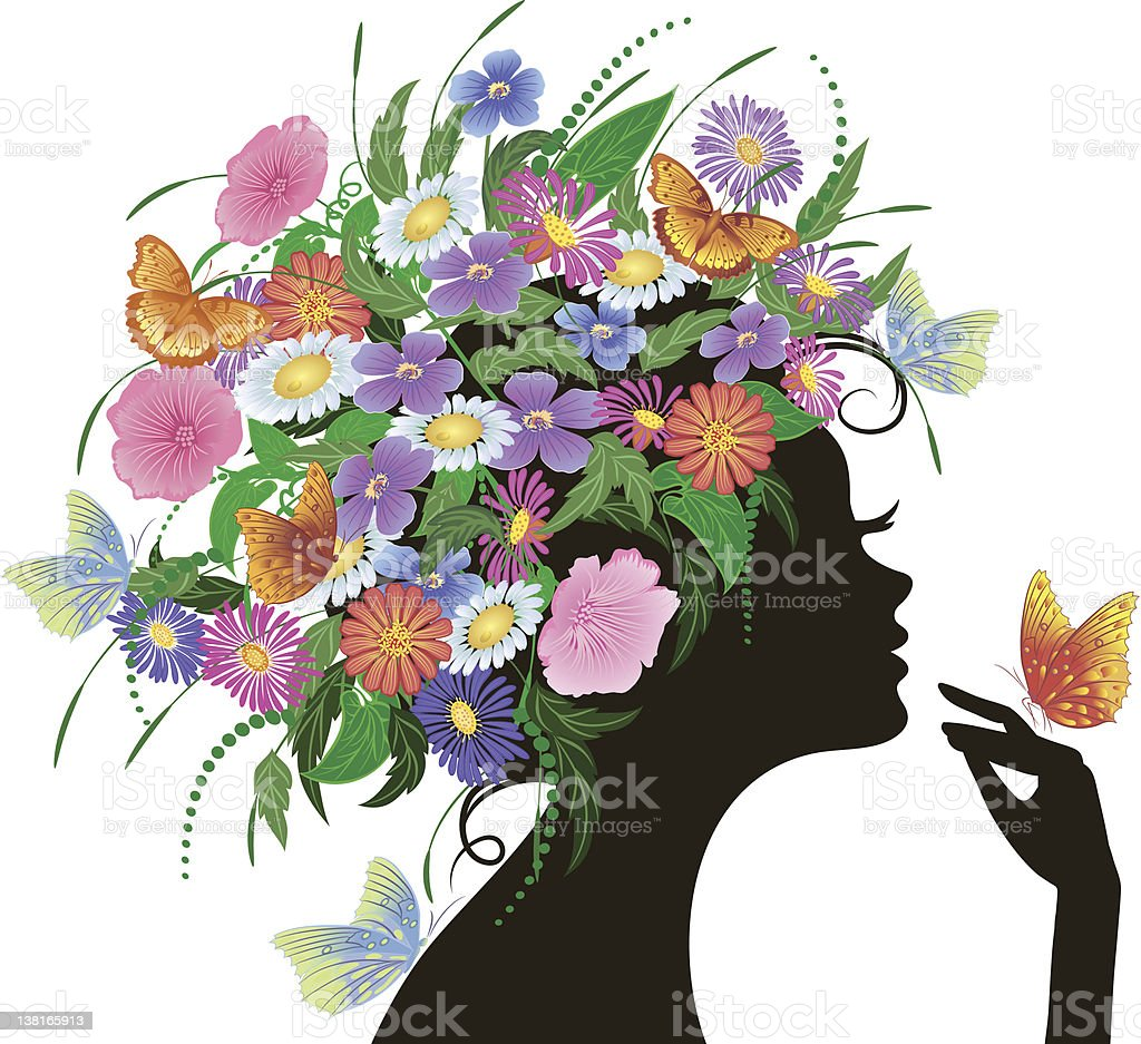 girl with flowers and butterflies vector art illustration