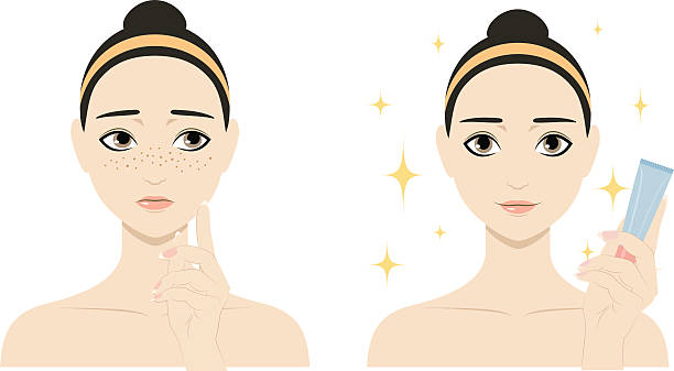 illustrations, cliparts, dessins animés et icônes de fille avec les taches de rousseur et sans - femme tache de rousseur