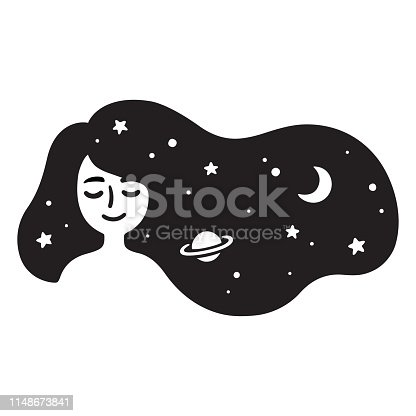 istock Girl with galaxy hair 1148673841
