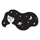 Black and white drawing of beautiful girl with long hair full of stars. Galaxy hair, dream universe. Simple and cute vector illustration.