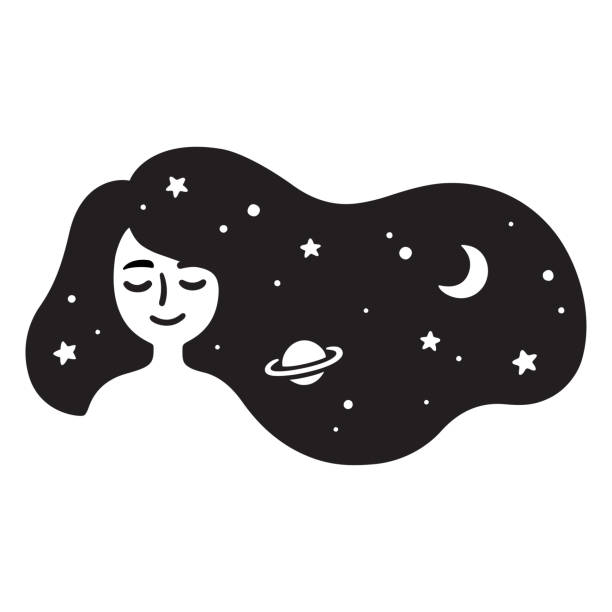 Girl with galaxy hair Black and white drawing of beautiful girl with long hair full of stars. Galaxy hair, dream universe. Simple and cute vector illustration. dreamlike stock illustrations