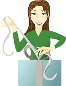 A vector illustration of a happy girl opening or wrapping a gift. Colors are very easily changed. Also included are AI10 and AI12 files.