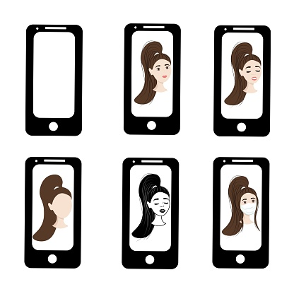 Girl with haircut on the phone screen. Emotions of a woman on the screensaver of a smartphone. Remote communication using gadgets. Stock vector illustration for business, internet, social networks.
