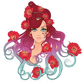 Vector illustration with a portrait of a beautiful young girl with long hair with hairdress of poppies. Girl with red poppies isolated on white background