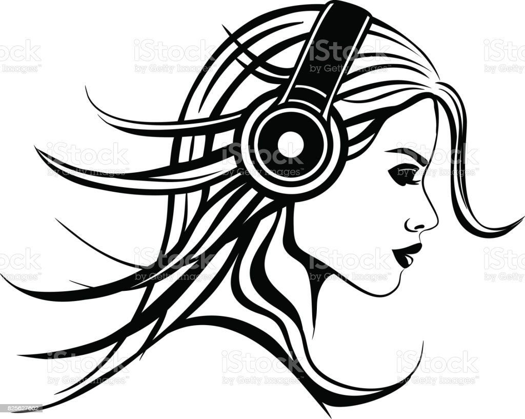 Girl With Headphones Listening Music Black And White stock ...