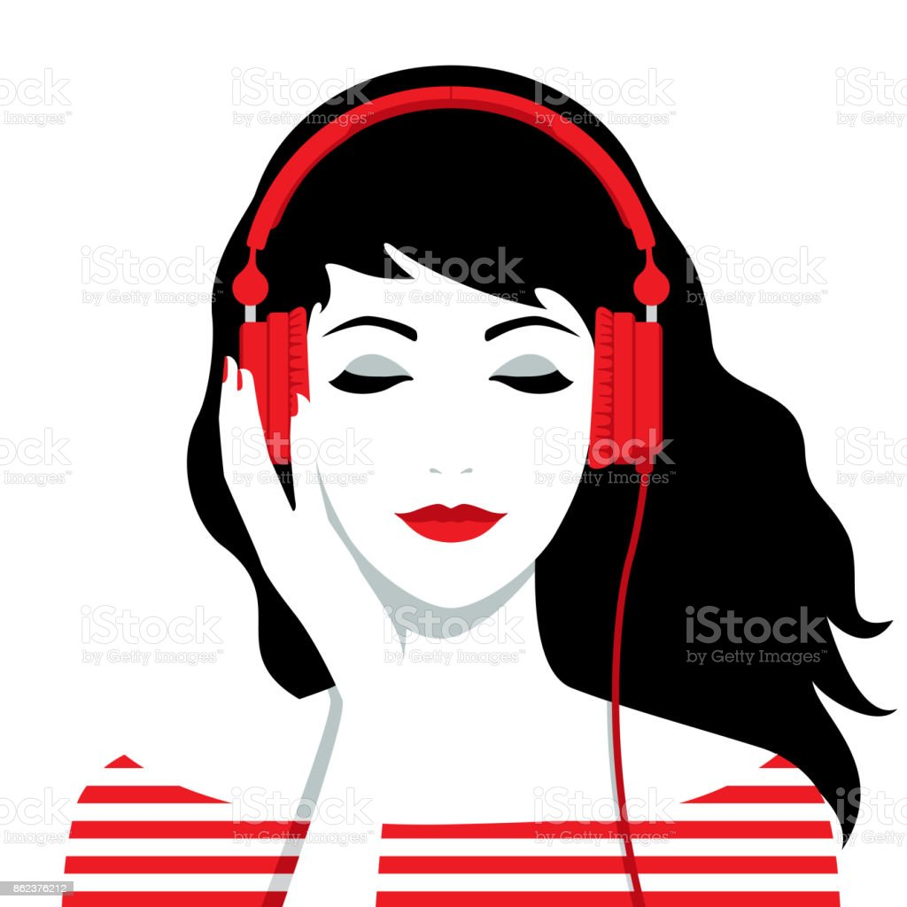 Girl with headphones on her head vector art illustration