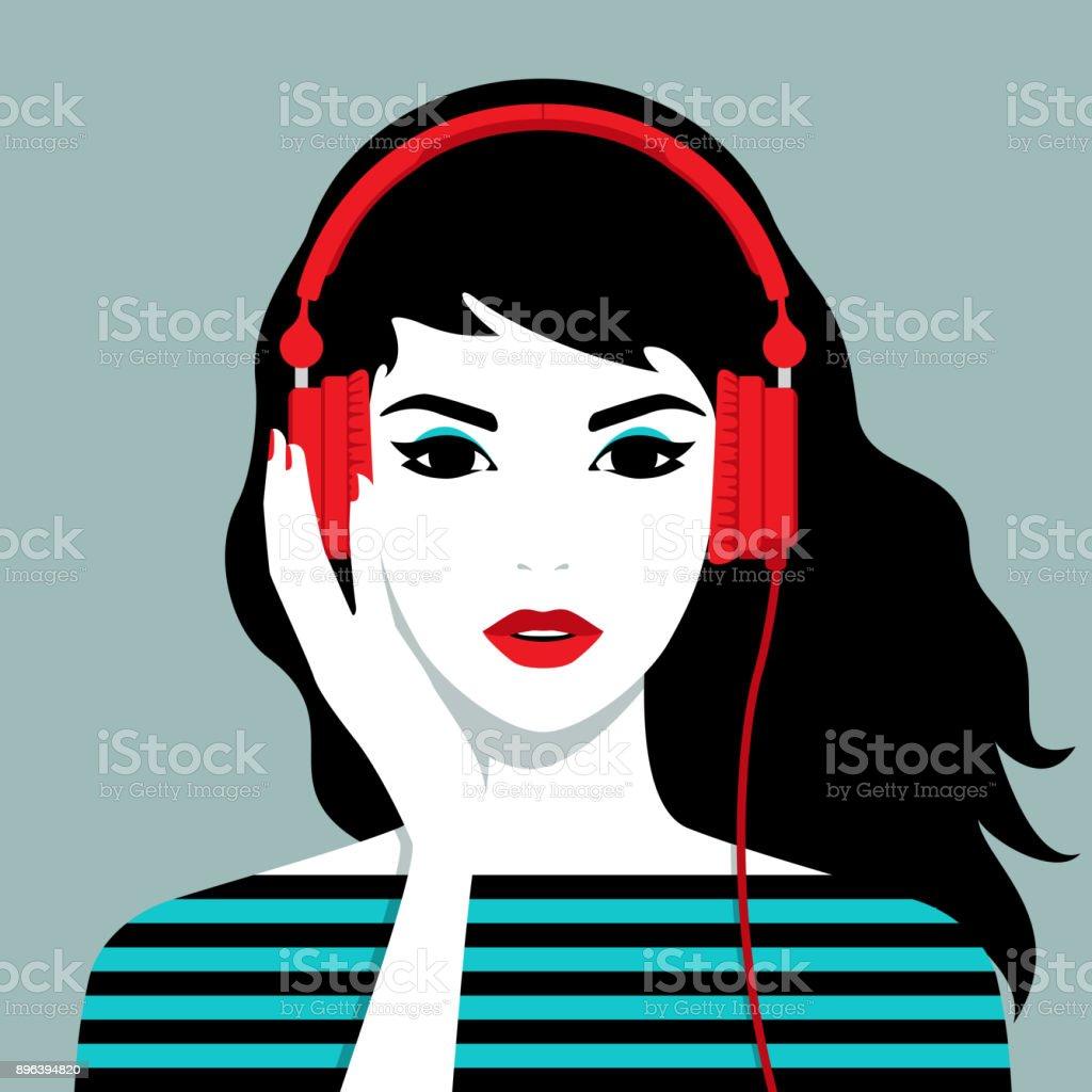 Girl Headphones Noir Et Blanc Icône Carré Vecteurs libres de droits et plus  d'images vectorielles de Casque audio - iStock