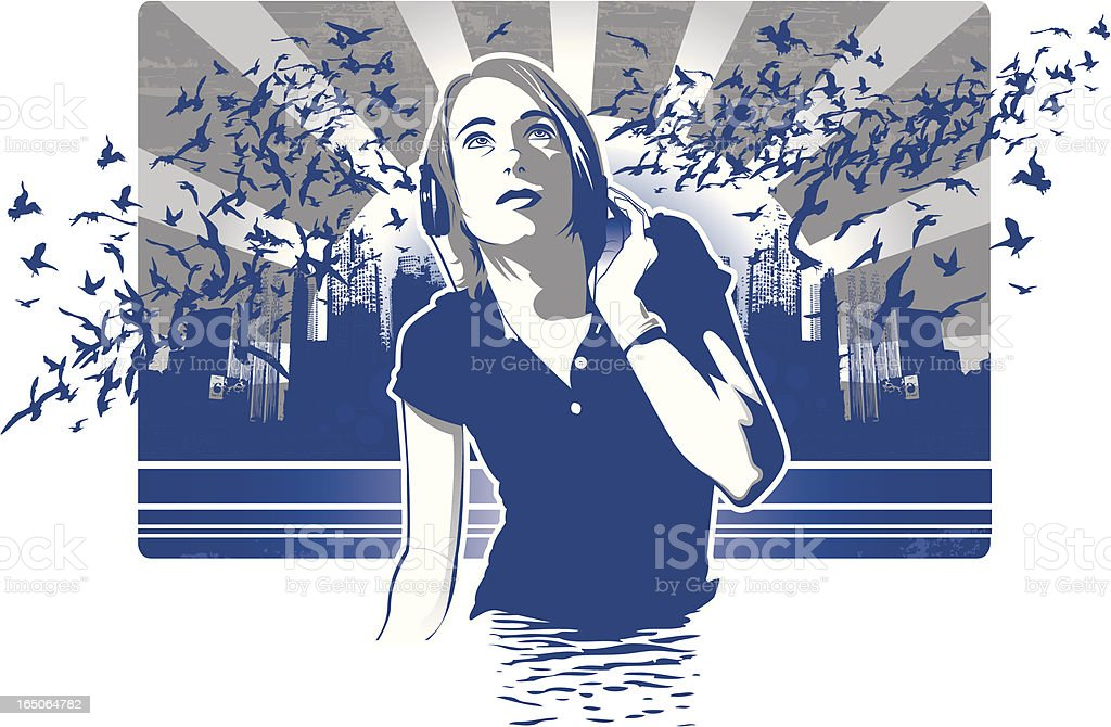 Girl with Headphones vector art illustration