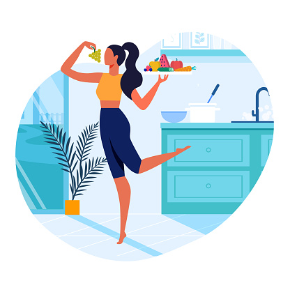 Girl with Healthy Food Flat Vector Illustration