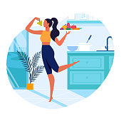 Girl with Healthy Food Flat Vector Illustration. Slim Young Woman in Kitchen Cartoon Character. Vegetarian Holding Serving Tray with Fresh Fruits and Vegetables. Healthy Lifestyle, Vegan Nutrition