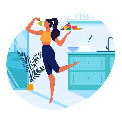 Girl With Healthy Food Flat Vector Illustration - Immagini vettoriali stock e altre immagini di Adulto