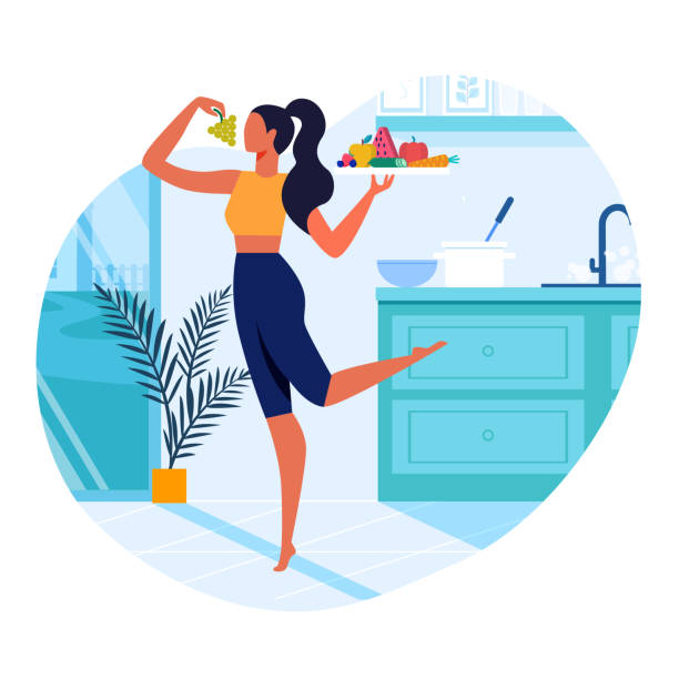 Girl with Healthy Food Flat Vector Illustration Girl with Healthy Food Flat Vector Illustration. Slim Young Woman in Kitchen Cartoon Character. Vegetarian Holding Serving Tray with Fresh Fruits and Vegetables. Healthy Lifestyle, Vegan Nutrition domestic kitchen stock illustrations