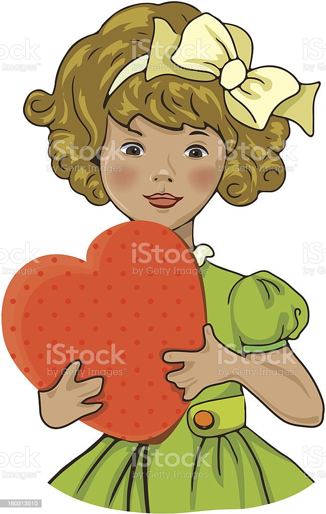 Girl with heart royalty-free girl with heart stock vector art & more images of art