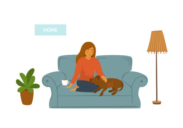 Best Dog On Couch Illustrations, Royalty-Free Vector ...