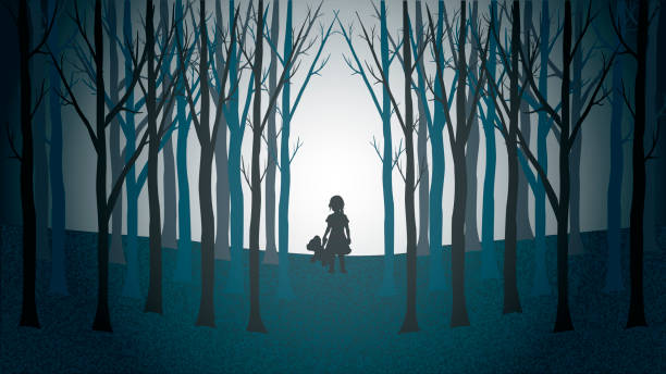girl with her teddy bear walking lost through a creepy forest - lost stock illustrations