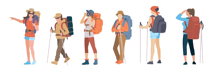 Girl with hiking backpack and trekking sticks. Young women explorer or traveller in sportswear. Adventure tourism, travel and discovery flat vector illustration.