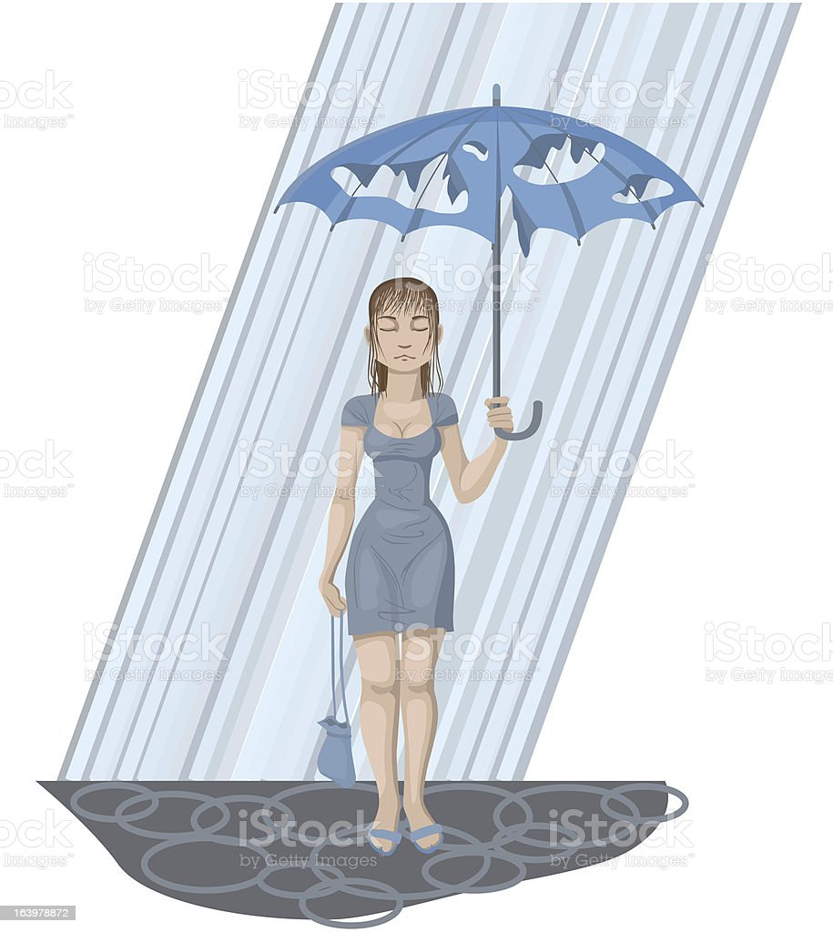 Girl with holey umbrella vector art illustration