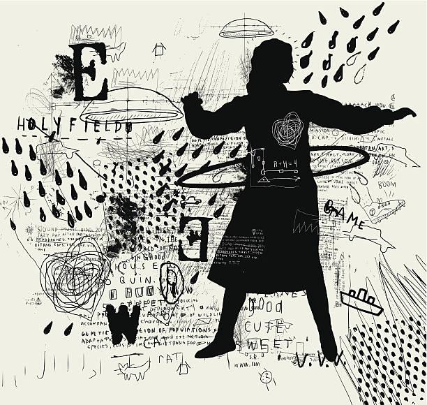 Girl with hoop vector art illustration