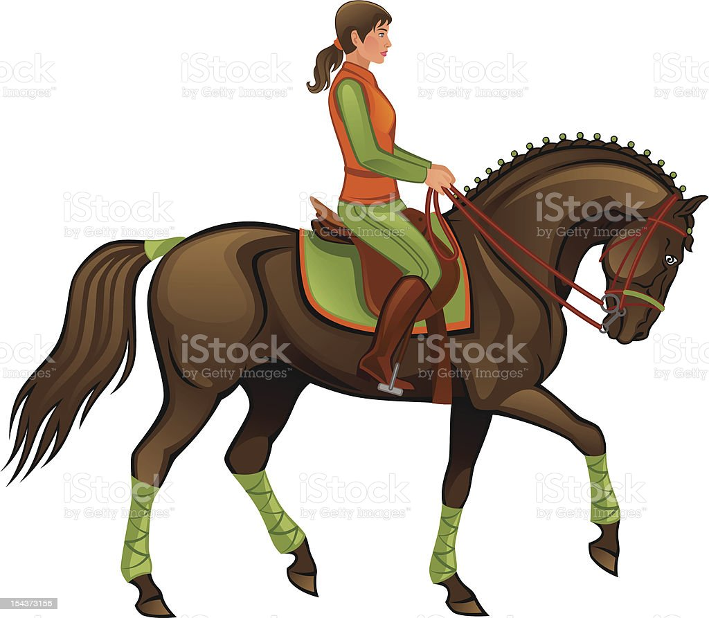 Girl with horse royalty-free stock vector art