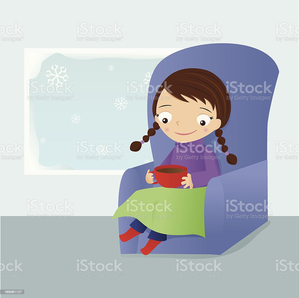 Girl with Hot Chocolate royalty-free stock vector art