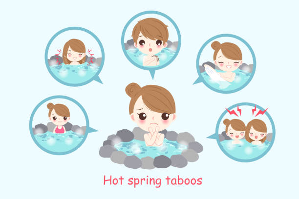 ilustrações, clipart, desenhos animados e ícones de menina com tabus de primavera quente - fontes de tatuagem