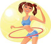 Beautiful Girl spinning Hula Hoop.