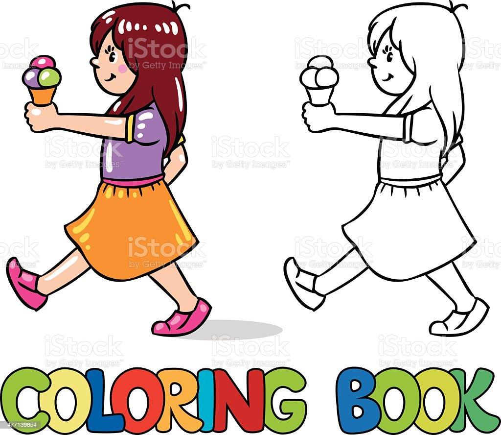 Niña Con Helado Libro Para Colorear - Arte vectorial de stock y más ...