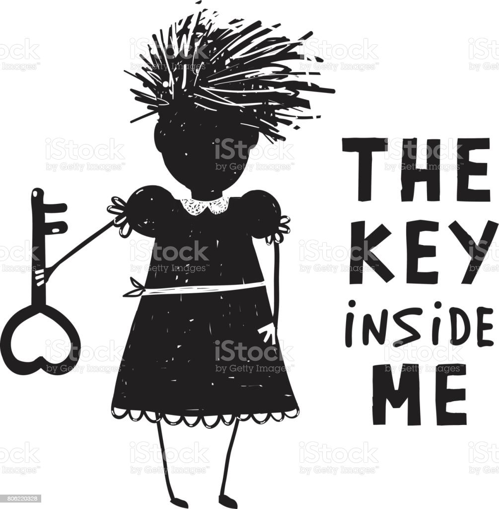 Girl with Key and Quote Sign Cartoon vector art illustration