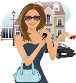 Pretty girl holding house and car keys, and a mobile phone.