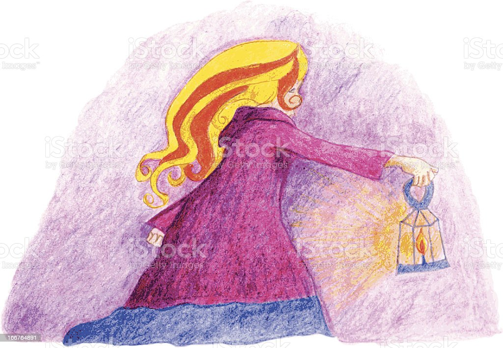 Girl with Lantern royalty-free stock vector art
