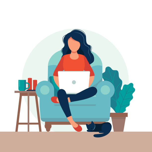 Girl with laptop on the chair. Freelance or studying concept. Cute illustration in flat style. vector art illustration