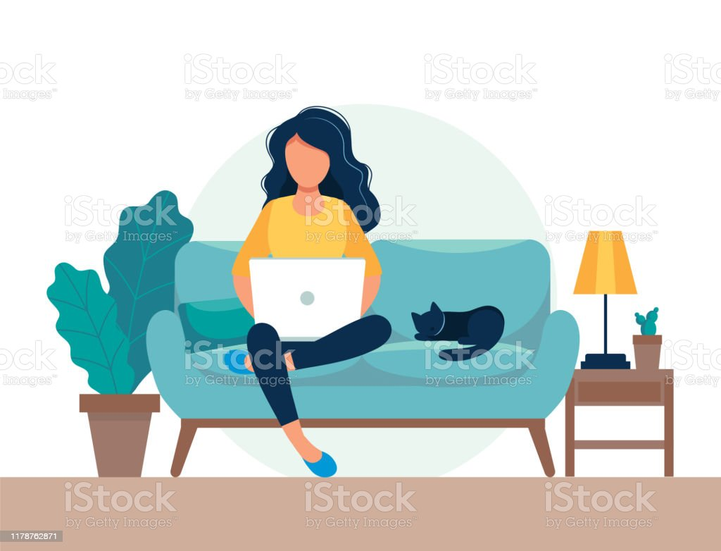 girl with laptop sitting on the chair. Freelance or studying concept. Cute illustration in flat style. girl with laptop sitting on the chair. Freelance or studying concept. Cute illustration in flat style. Adult stock vector