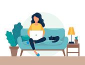 istock girl with laptop sitting on the chair. Freelance or studying concept. Cute illustration in flat style. 1178762871