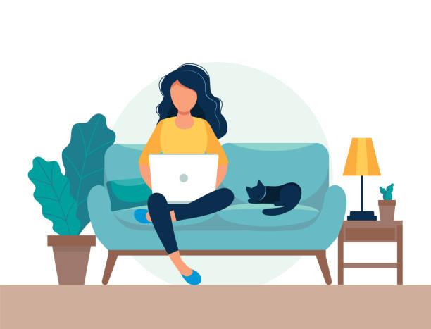 bildbanksillustrationer, clip art samt tecknat material och ikoner med flicka med laptop sitter på stolen. frilans-eller studie koncept. söt illustration i platt stil. - laptop
