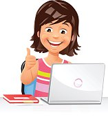 A laughing young girl using a laptop and gesturing thumbs up. EPS 10, grouped and labeled in layers.