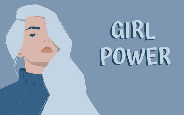 Girl with light blue hair and a domineering look. International woman's day. vector art illustration