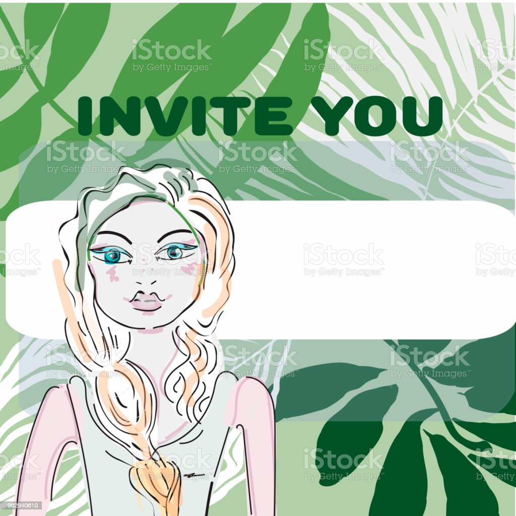 girl with, lips, palm leaves, frangipani plumeria flower, flags. Tropical beach party. Retro vector illustration. Place for your text. Invitation, banner, card, poster, flyer vector art illustration